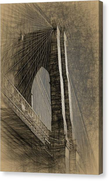 Pencil Sketch Of The Brooklyn Bridge Canvas Print