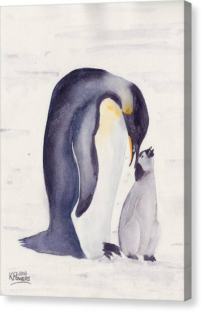 Penguin And Baby Canvas Print