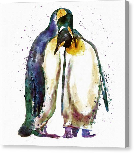 Penguins Canvas Print - Penguin Couple by Marian Voicu