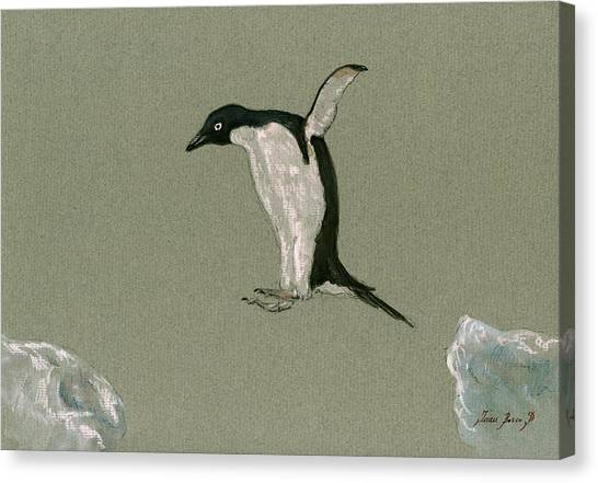 Penguins Canvas Print - Penguin Jumping by Juan  Bosco