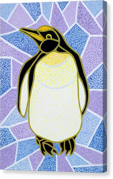 Humour Canvas Print - Penguin On Stained Glass by Pat Scott