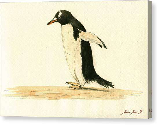 Penguins Canvas Print - Penguin Walking by Juan  Bosco