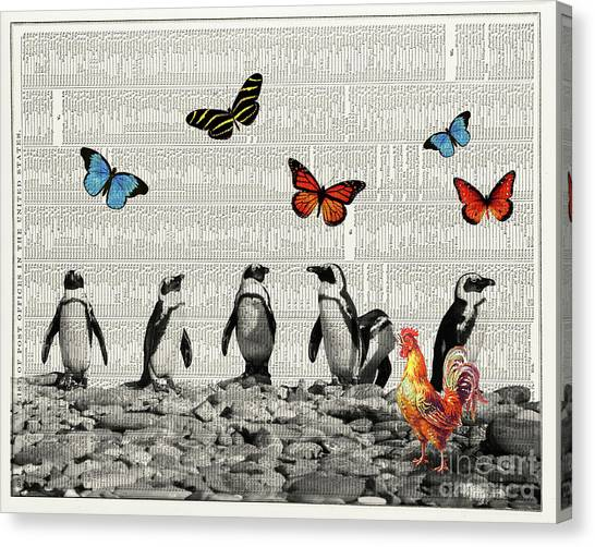 Penguins Canvas Print - Penguins And Butterflies by Delphimages Photo Creations