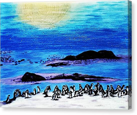 Penguins Land Canvas Print