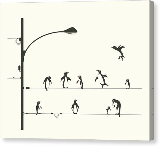 Penguins Canvas Print - Penguins On A Wire by Jazzberry Blue