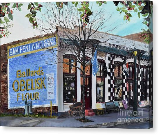 Canvas Print featuring the painting Penland Bros Store - Ellijay Georgia - Historical Building by Jan Dappen