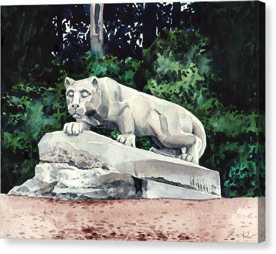 Penn State University Canvas Print - Penn State Nittany Lion Shrine University Happy Valley Joe Paterno by Laura Row