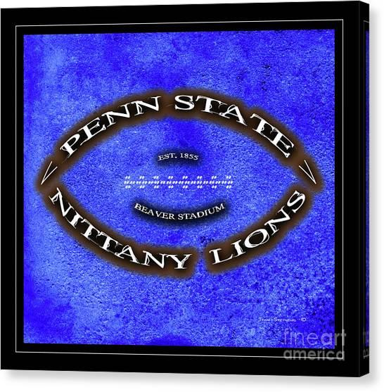 Pennsylvania State University Canvas Print - Penn State Nittany Lions Minimal Football Poster by John Stephens