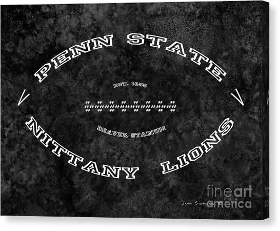 Pennsylvania State University Canvas Print - Penn State Nittany Lions Football Tribute Poster Mottled Charcoal by John Stephens