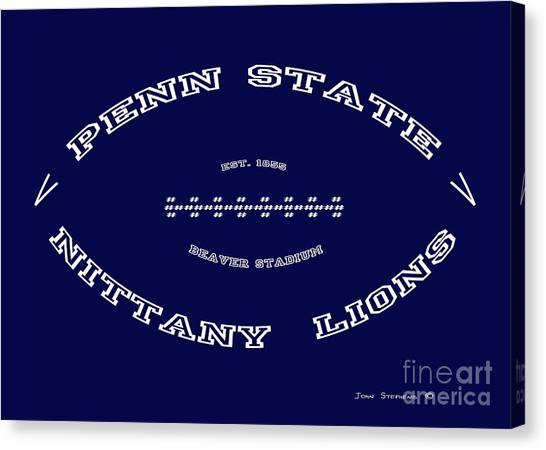 Pennsylvania State University Canvas Print - Penn State Nittany Lions Football Tribute Poster Solid Dark Blue by John Stephens
