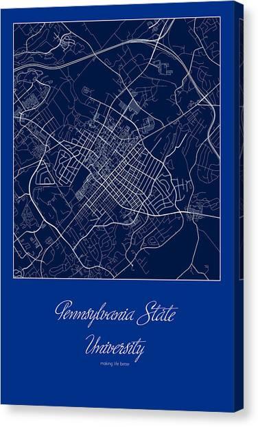 Pennsylvania State University Canvas Print - Penn State Street Map - Pennsylvania State University State Coll by Jurq Studio