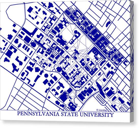 Pennsylvania State University Canvas Print - Penn State University Campus by Spencer Hall