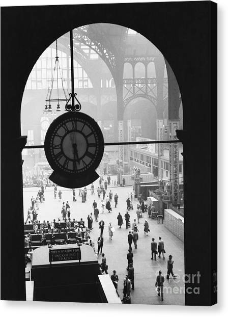 Train Canvas Print - Penn Station Clock by Van D Bucher and Photo Researchers