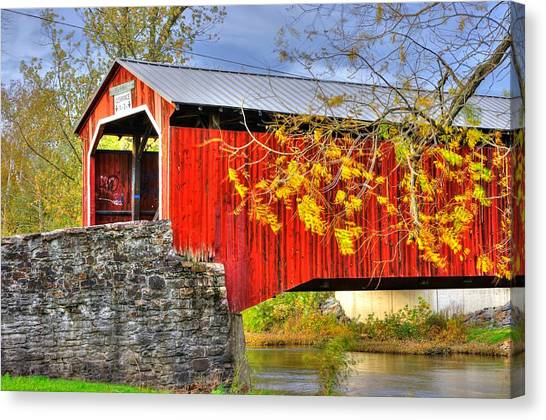 Pennsylvania Country Roads - Dellville Covered Bridge Over Sherman Creek No. 13 - Perry County Canvas Print