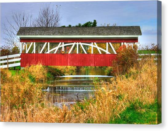 Pennsylvania Country Roads - Oregon Dairy Covered Bridge Over Shirks Run - Lancaster County Canvas Print
