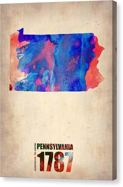 Pennsylvania Canvas Print - Pennsylvania Watercolor Map by Naxart Studio