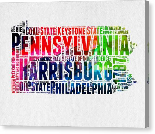 Philadelphia Canvas Print - Pennsylvania Watercolor Word Cloud Map  by Naxart Studio