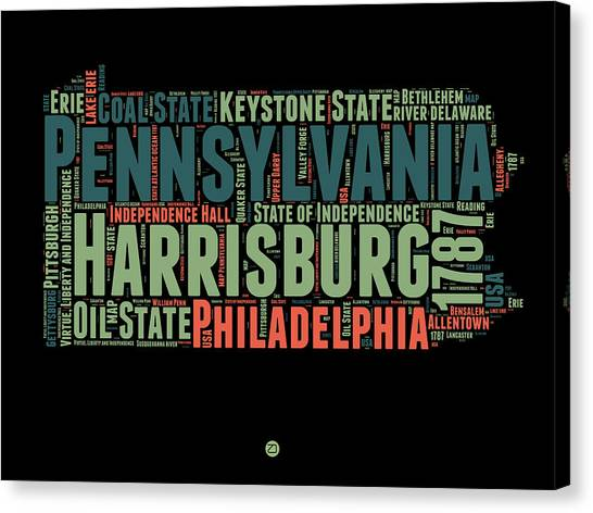 Philadelphia Canvas Print - Pennsylvania Word Cloud Map 1 by Naxart Studio