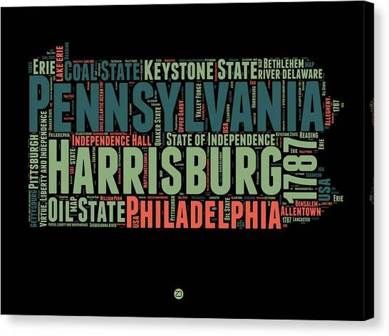 Pennsylvania Canvas Print - Pennsylvania Word Cloud Map 1 by Naxart Studio
