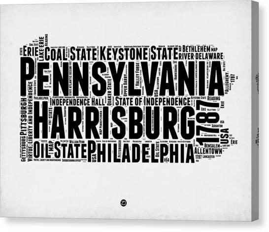 Pennsylvania Canvas Print - Pennsylvania Word Cloud Map 2 by Naxart Studio