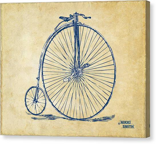 Vintage Canvas Print - Penny-farthing 1867 High Wheeler Bicycle Vintage by Nikki Marie Smith