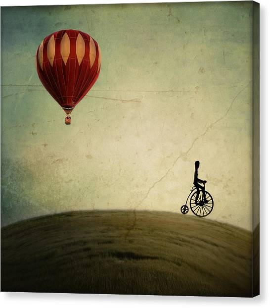 Hot Air Balloon Canvas Print - Penny Farthing For Your Thoughts by Irene Suchocki