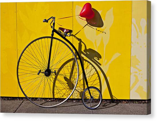 Yellow Canvas Print - Penny Farthing Love by Garry Gay