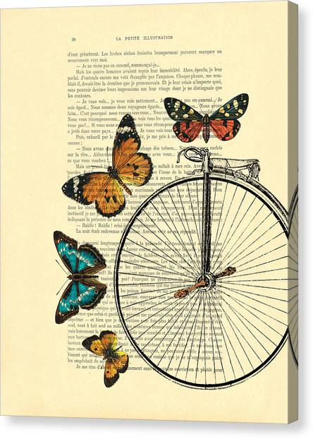 Yellow Butterfly Canvas Print - Penny Farthing With Butterflies by Madame Memento