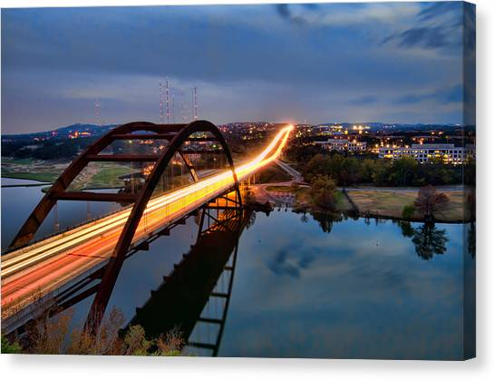 Pennybacker Bridge At Dusk Canvas Print