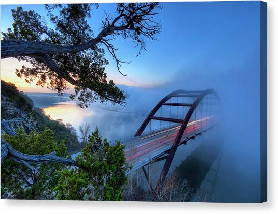 Austin Canvas Print - Pennybacker Bridge In Morning Fog by Evan Gearing Photography