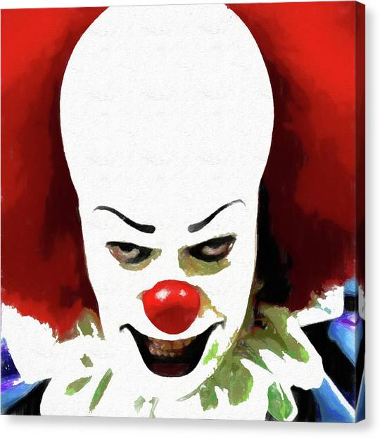 Creepy Canvas Print - Pennywise Clown by Dan Sproul