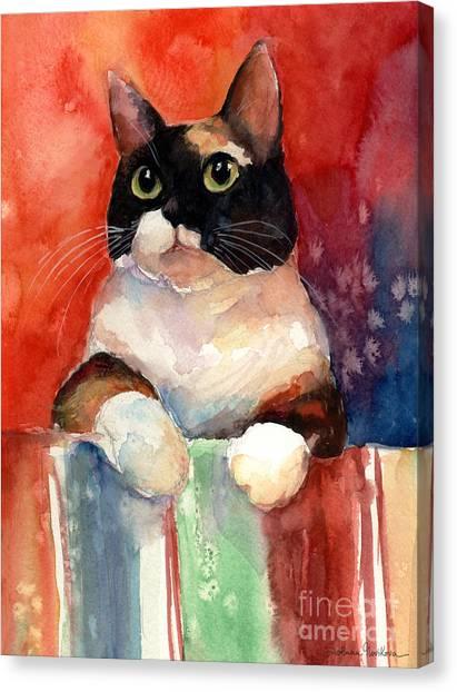 Watercolor Pet Portraits Canvas Print - Pensive Calico Tubby Cat Watercolor Painting by Svetlana Novikova