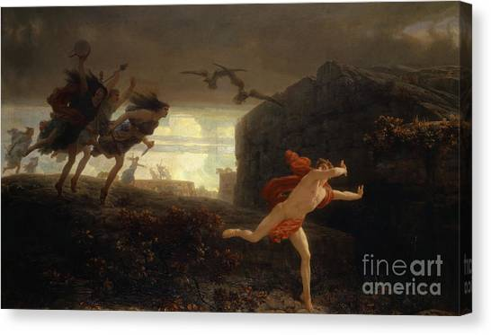 Neoclassical Art Canvas Print - Pentheus Pursued By The Maenads by Charles Gleyre