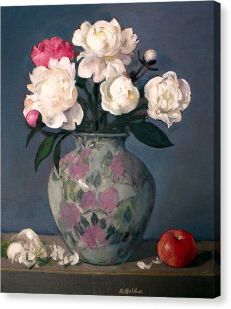 Peonies In Floral Vase With Red Apple Canvas Print
