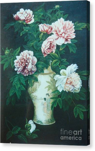 Peonies In Vase Canvas Print by Tierong Fu