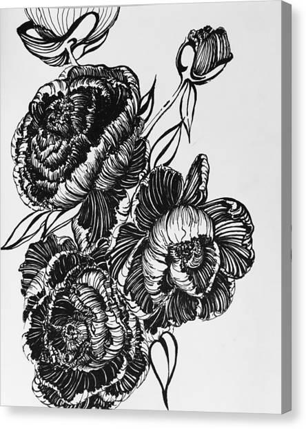 Peonies Line Drawing Canvas Print