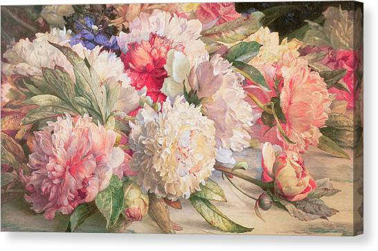 Peony Canvas Print - Peonies by William Jabez Muckley
