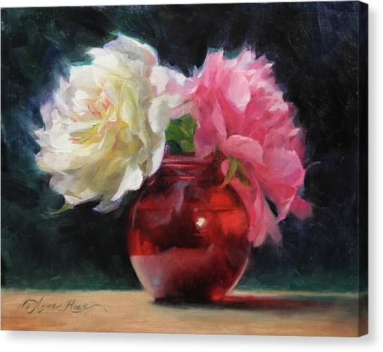 Peonies Canvas Print - Peonies With Red Vase by Anna Rose Bain
