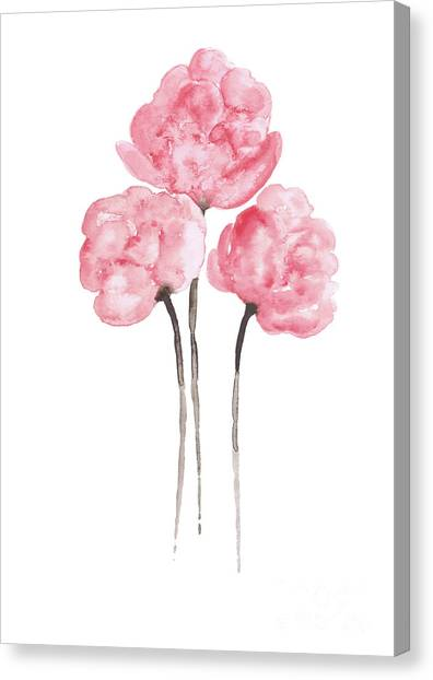 Wedding Bouquet Canvas Print - Peony Bouquet Anniversary Woman Art Print, Pink Paper Flower Watercolor Painting by Joanna Szmerdt