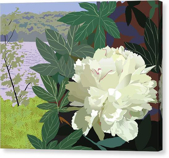 Peony By The Lake Canvas Print by Marian Federspiel