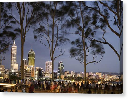 People In Kings Park Watching Fireworks On Australia Day With Perth Skyline In Background Canvas Print by Orien Harvey