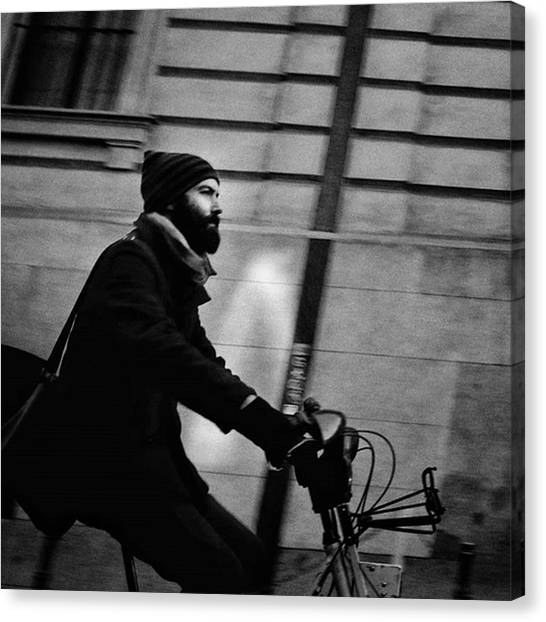 Biker Canvas Print - #people #man #beard #hood #winter #bike by Rafa Rivas