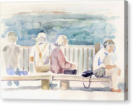 People On Benches Canvas Print by Linda Berkowitz