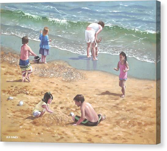 people on Bournemouth beach kids in sand Canvas Print