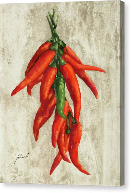 Peppers Canvas Print - Peperoncini by Guido Borelli