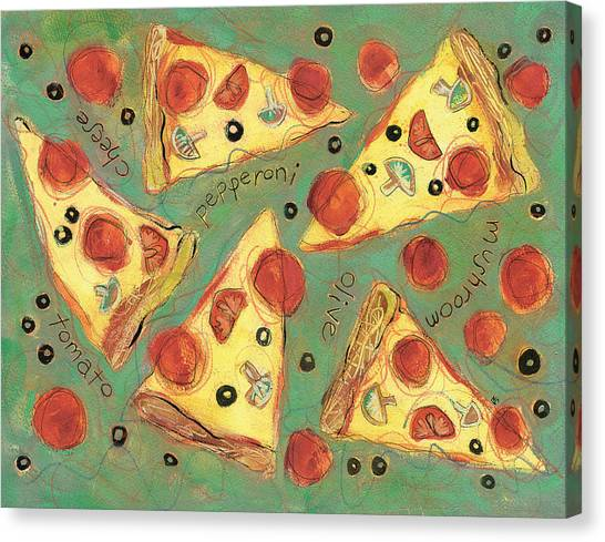 Pizza Canvas Print - Pepperoni Pizza by Jen Norton