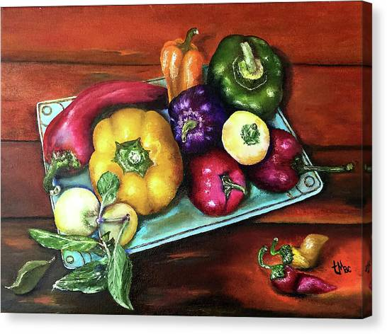 Peppers And A Turquoise Tray Canvas Print