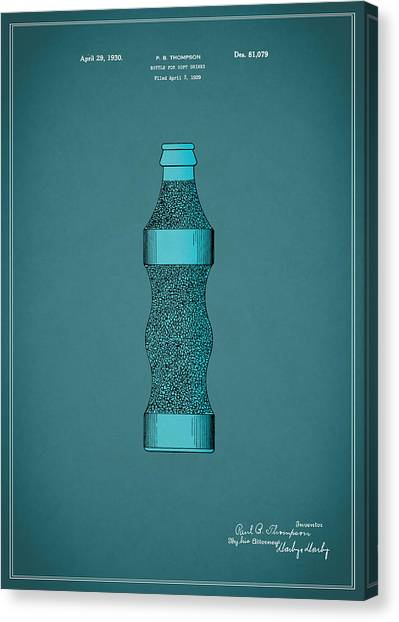 Pepsi Canvas Print - Pepsi Cola Bottle Patent 1930 by Mark Rogan