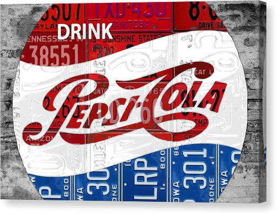 Pepsi Canvas Print - Pepsi Cola Vintage Logo Recycled License Plate Art On Brick Wall by Design Turnpike