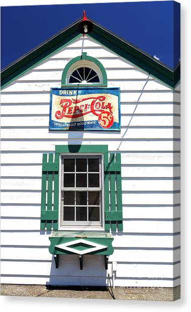 Pepsi Window At Ambler's Texaco Gas Station Canvas Print by John Rizzuto